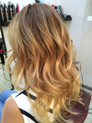 Окрашивание волос омбре блонд